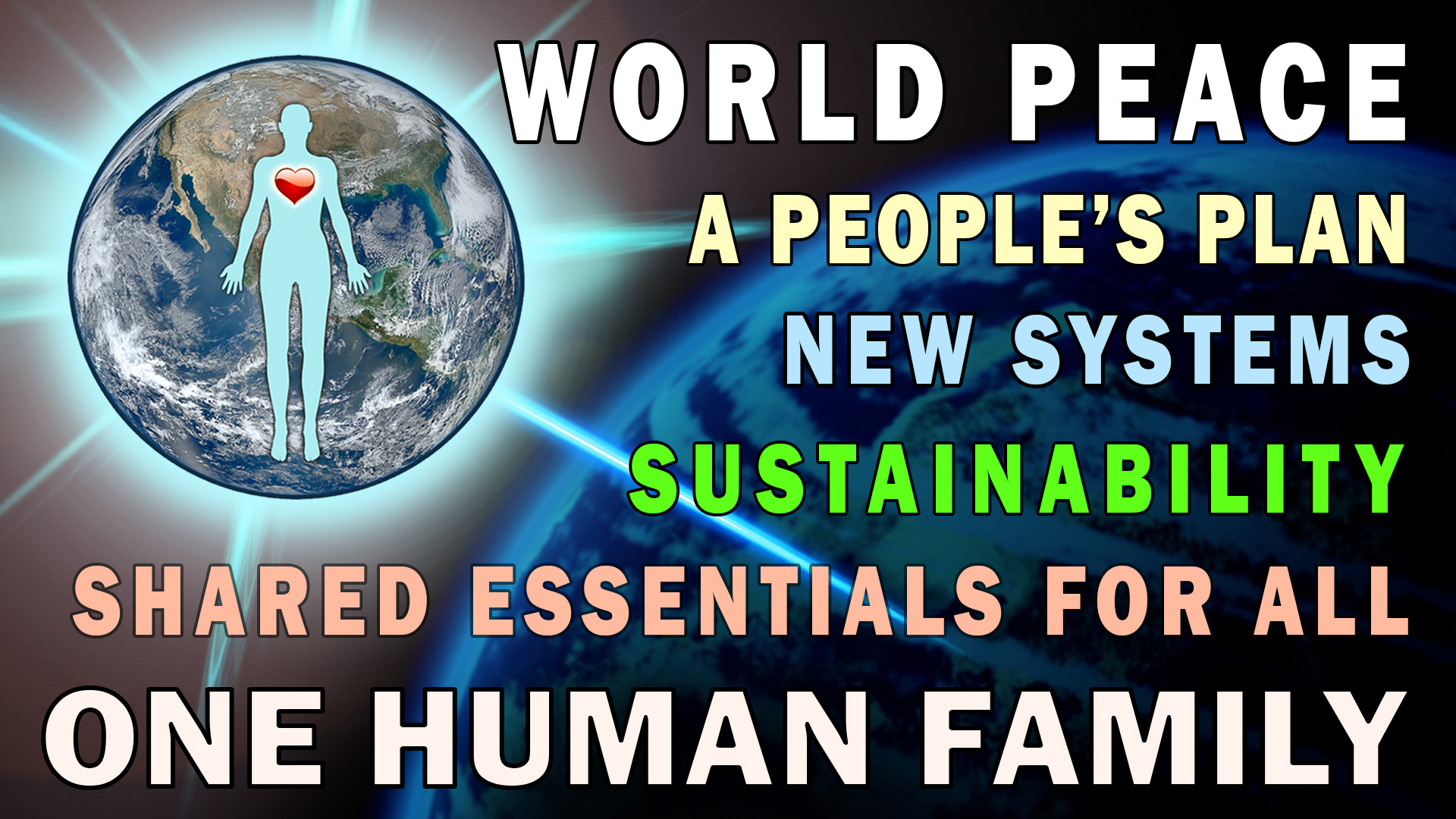 the one family movement introduction thumbnail with earth and world peace symbol